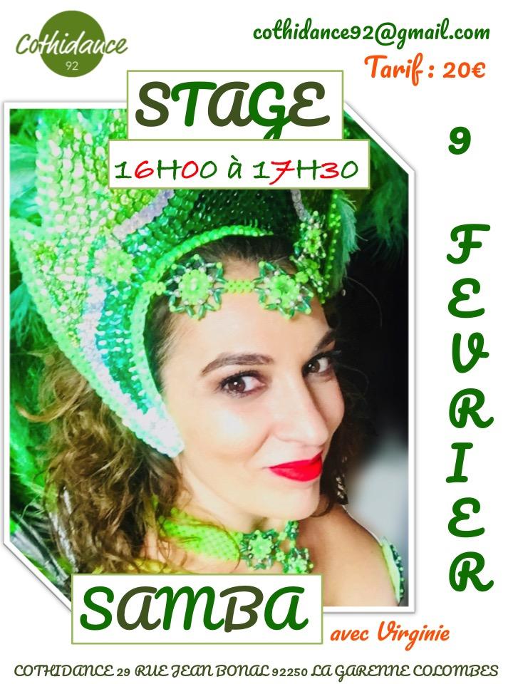 Dimanche 9 février Stage de Samba No Pe
