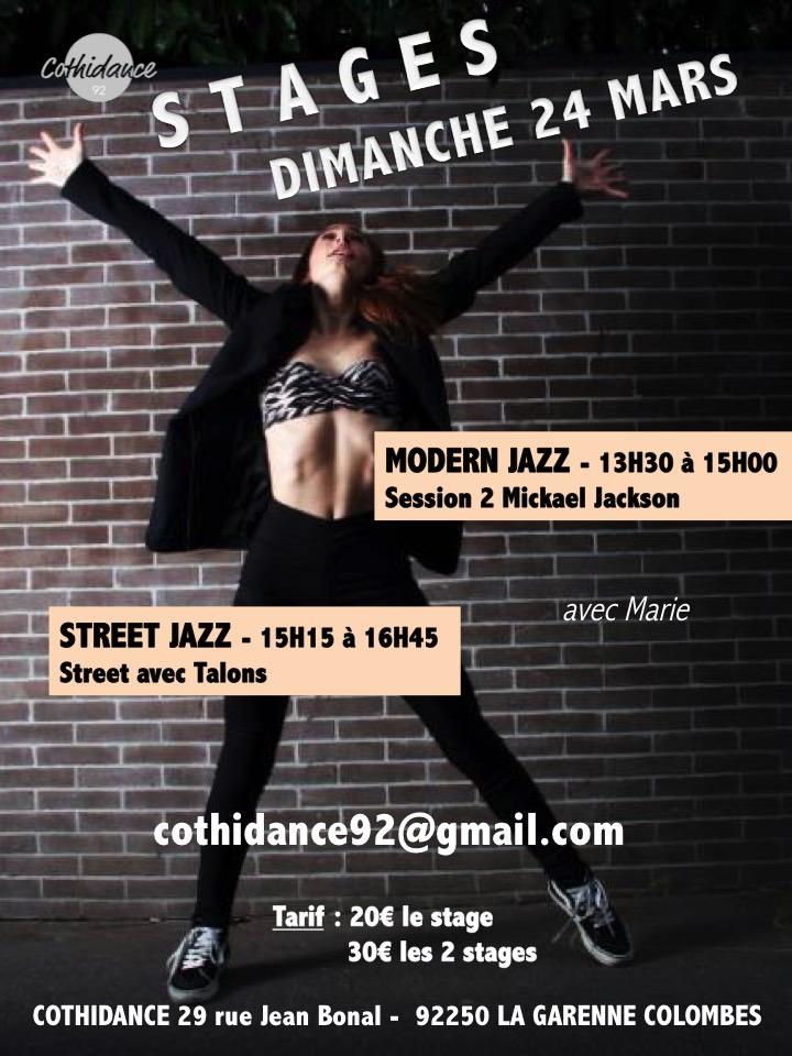 Samedi 24 mars Stage de Modern Jazz et Street Jazz