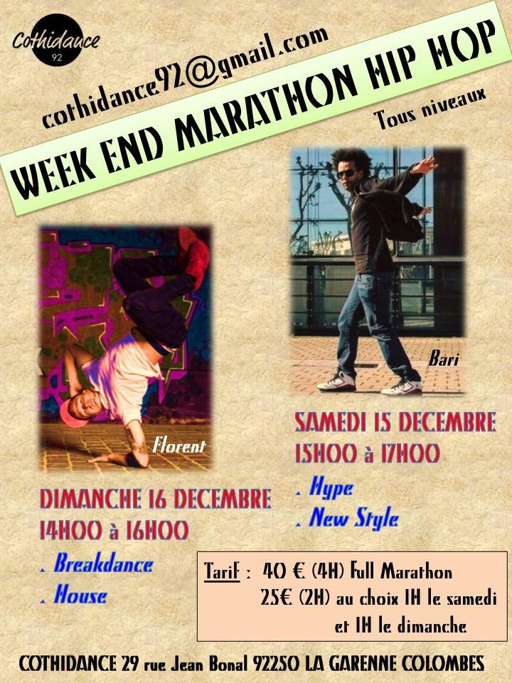 Samedi 15 décembre et Dimanche 16 décembre Weekend Marathon Hip Hop