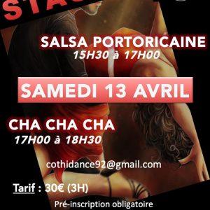 Samedi 13 avril Stage de Salsa portoricaine et de Cha Cha Cha