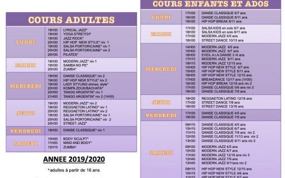 Nouveau planning des cours 2019/2020