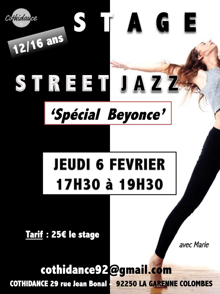 "Jeudi 6 février Stage de Street Jazz ""Spécial Beyoncé"""